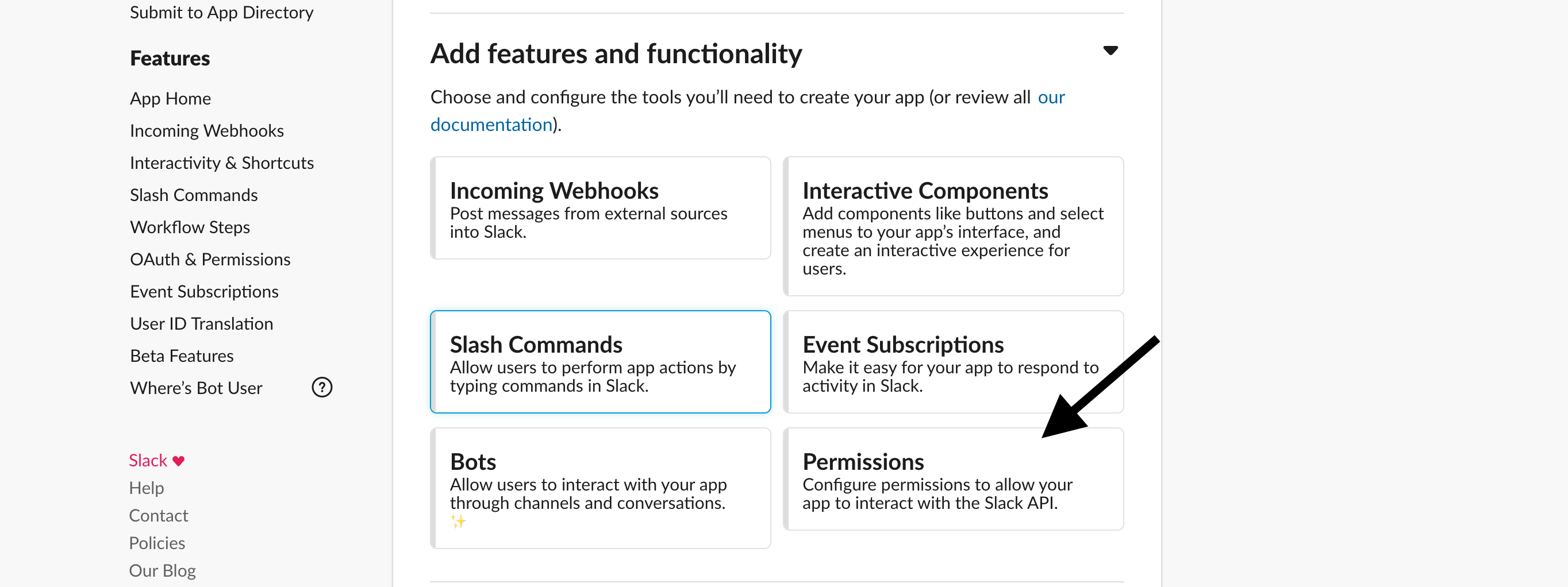 Slack API Configuration Screen with an arrow pointing to permissions